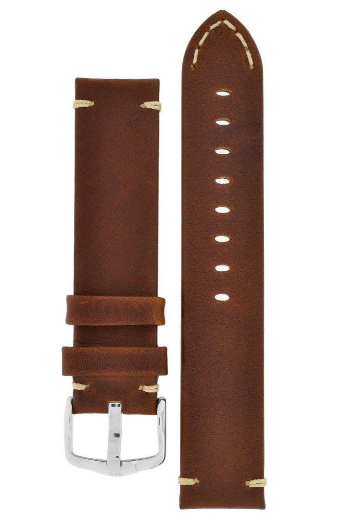 Hirsch RANGER Retro Leather Parallel Watch Strap GOLD BROWN – WatchObsession