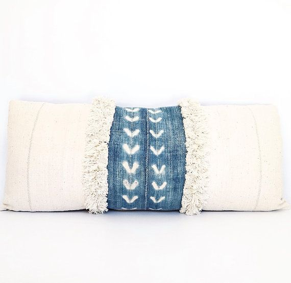 Vintage Faded African Indigo, Mudcloth And Fringe Textile Lumbar Pillow Cover 12x28