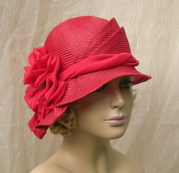 Sophia, beautiful parasisol straw cloche, womens millinery flapper hat, red on Etsy, $145.00
