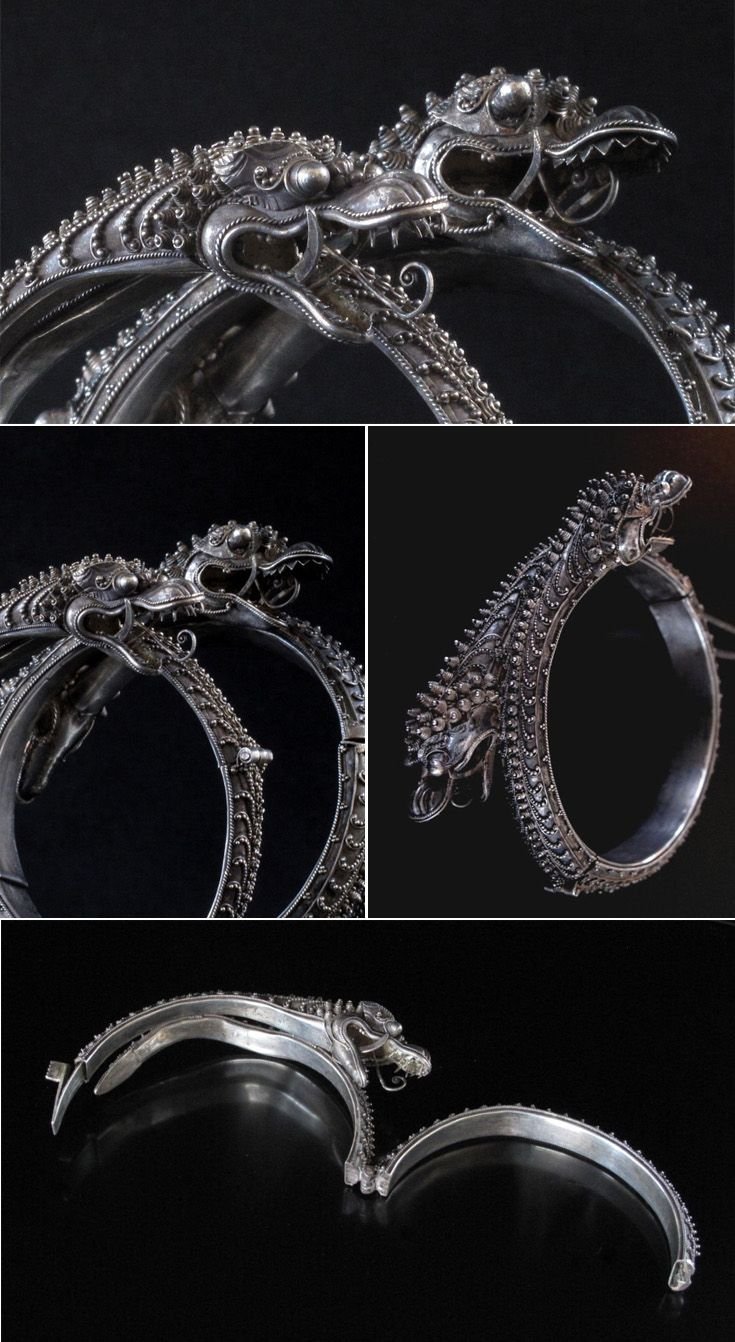 Chinese Straits hinged dragon bracelets' silver; filigree and granulation | ca. 19th century