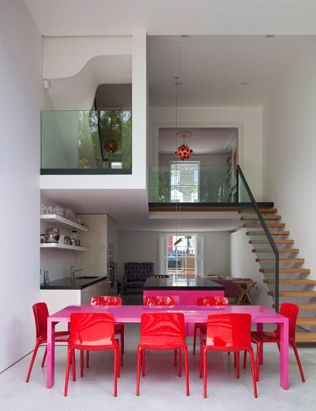 Dinning / David Mikhail ArchitectsSpaces, Dining Room, Red, Chairs, Interiors, Colors, Dining Sets, Pink Tables, Dining Tables