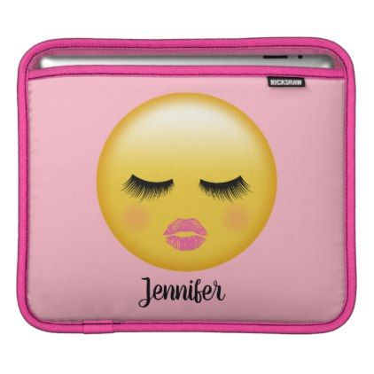 Sleeping Emoji - Girly Makeup Pink Lips & Lashes iPad Sleeve - girly gift gifts ideas cyo diy special unique