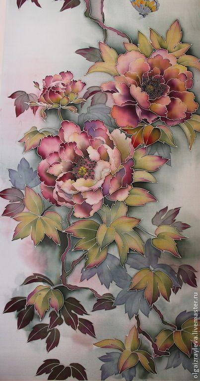 """Купить Батик панно """"Пионы в китайском стиле"""" - разноцветный, Батик, батик панно, батик цветы"""