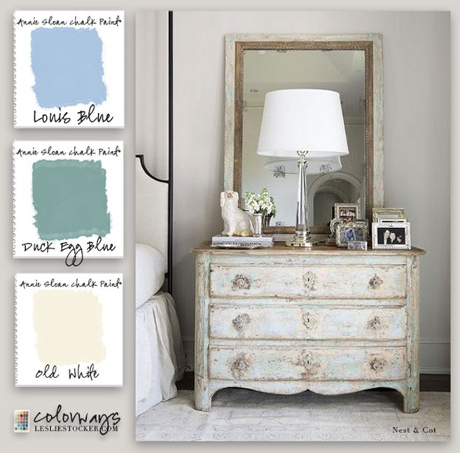 Colorways with Leslie Stocker » Gustavian Bedside Chest Inspiration for Annie Sloan Chalk Paint palette. Old White. Louis Blue. Duck Egg Blue