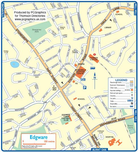 Map of Edgware created in 2011 for Thomson Directories. One of approximately 350 UK town and city maps produced royalty free. Find out more...  http://www.pcgraphics.uk.com   or read our blog...    http://www.pcgraphics.uk.com/blog/