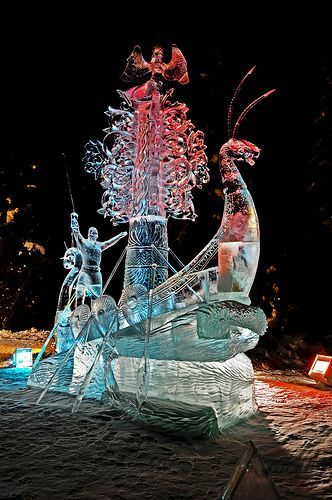 "2012 BP World Ice Art Championships. Multi Block Competition - ""The Land Calls"" by Oleg Klavdeev & Eduard Ponomarenko from Russia.  Won 4th Place."