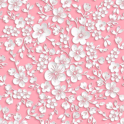 Beautiful paper flower seamless pattern vector 01