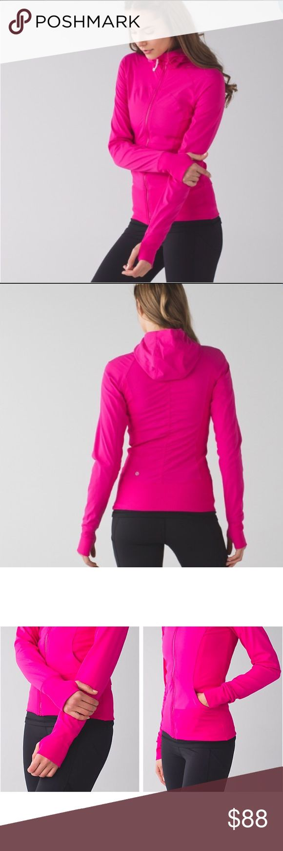 Lululemon In Flux Jacket Incredible In Flux Jacket from Lululemon. Like new. Color is Jewelled magenta and is a stunning bright pink in person. Slim fitting lined jacket. Luon fabric. Thumb holes. Ribbed side panels. Size 4 and runs very snug. I would consider 2 and XXS and 4 an XS. lululemon athletica Jackets & Coats