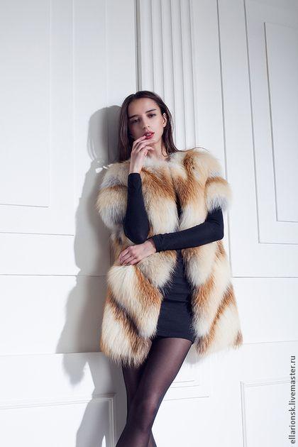 Жилет из рыжей лисы - мех натуральный,меховой жилет,лиса,мех лисы,женская одежда