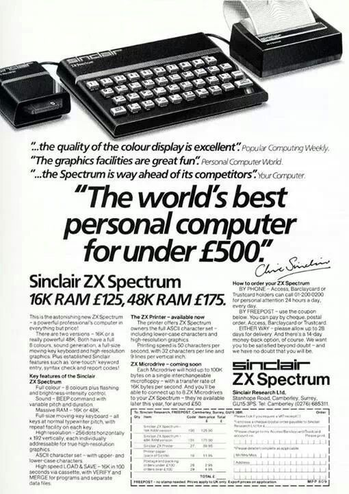 ZX Spectrum, my first gaming experience. How much?! Pretty sure mine came from the classified ads in the back of the Standard Recorder.