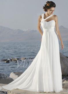 Wedding Dresses - $126.56 - Empire One-Shoulder Court Train Chiffon Wedding Dress With Ruffle Flower(s) (00205000327)