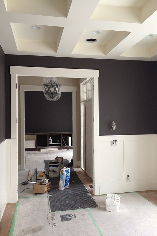 Dining Rooms Black Walls White Wainscotting
