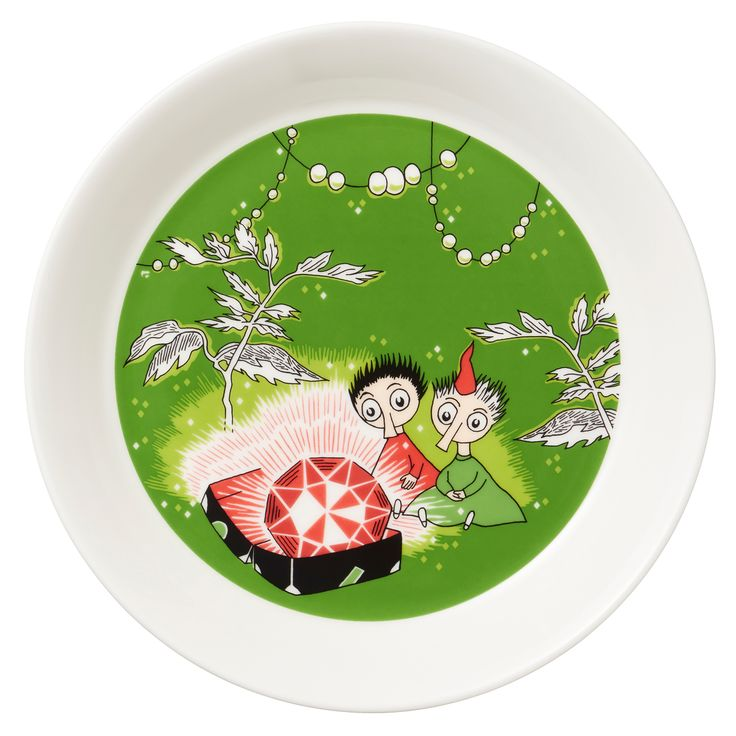 Moomin plate, Thingumy and Bob, green