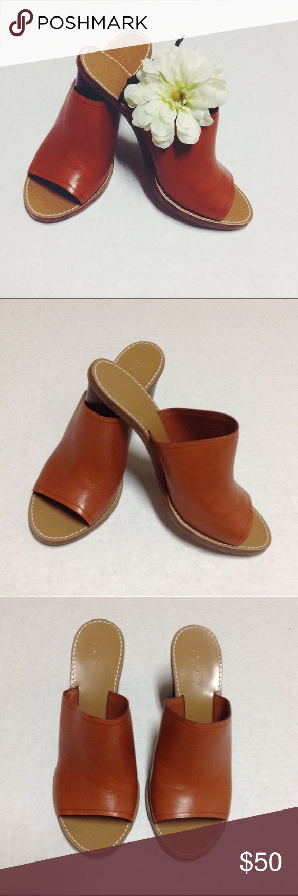 """J Crew Marlow Mules J Crew Marlow Mules open toe heeled sandals size 6.5. 3.5"""" heel. Leather upper and lining. Wide stacked heel. Beautiful tan orange leather. Euc. There is wear on the sole as pictured in photos 5-6. J. Crew Shoes Mules & Clogs"""