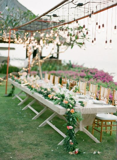 Garland and lighting: http://www.stylemepretty.com/2014/09/11/romantic-cliff-top-wedding-by-the-sea-in-bali/ | Photography: Jemma Keech - http://jemmakeech.com/