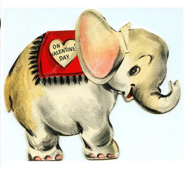 VINTAGE VALENTINE CIRCUS ELEPHANT