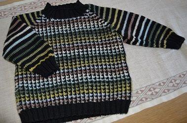 Barnetrøje strikket i Baby Cashmerino og Luxury Silk, begge garner fra Debbie bliss Opskriften er fra Debbie Bliss, Baby Cashmerino nr 6