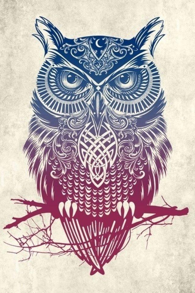 cool Tribal Owl Wallpaper by TelephoneWallpaper.com