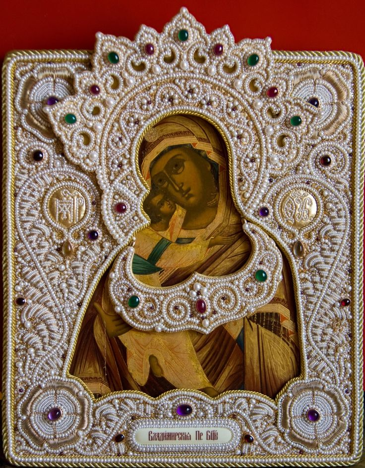 Amazing hand embroidered Russian Icon frame