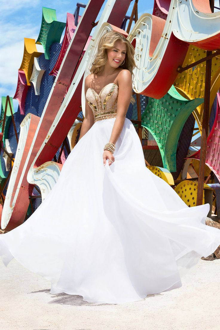 Gold and White Mermaid Sweetheart Prom Dresses | Dress images