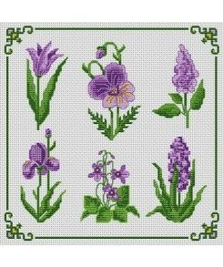 Violet flowers.  Tons of FREE CROSS-SITCH PATTERNS at this site: just found a site that has really easy to download embroidery patterns for free. It's http://club-point-de-croix.com/?code_avantage=CWcplRsmji Plus, if you click on this link, http://club-point-de-croix.com/?code_avantage=CWcplRsmji  , you'll automatically receive a gift when you subscribe. I use this site all the time; there are hundreds of all different types of patterns, and there are new patterns added everyday.