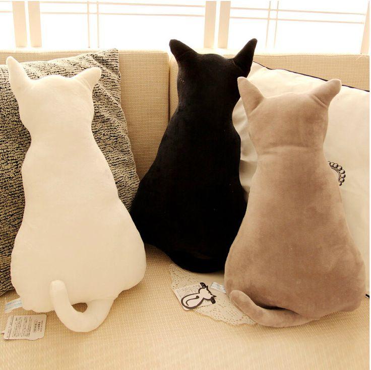 Description: Super cute 45cm soft plush back shadow cat seat sofa pillow cushion,stuffed cartoon pillow, creative birthday gift for girls. 1.Size: 45cm; 2.Material:soft plush; 3.Filling: 100% high qua