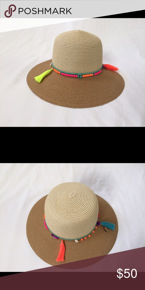 Woman's Summer Hat with stones,tassel and pompom Woman's Summer Beach Straw Hat with gemstones,tassel and pompom Angie Rasch Designs Accessories Hats