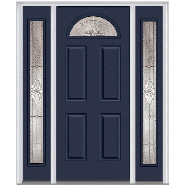 Milliken Millwork 68.5 in. x 81.75 in. Heirloom Master Decorative Glass 1/4 Lite Painted Majestic Steel Exterior Door with Sidelites, Naval