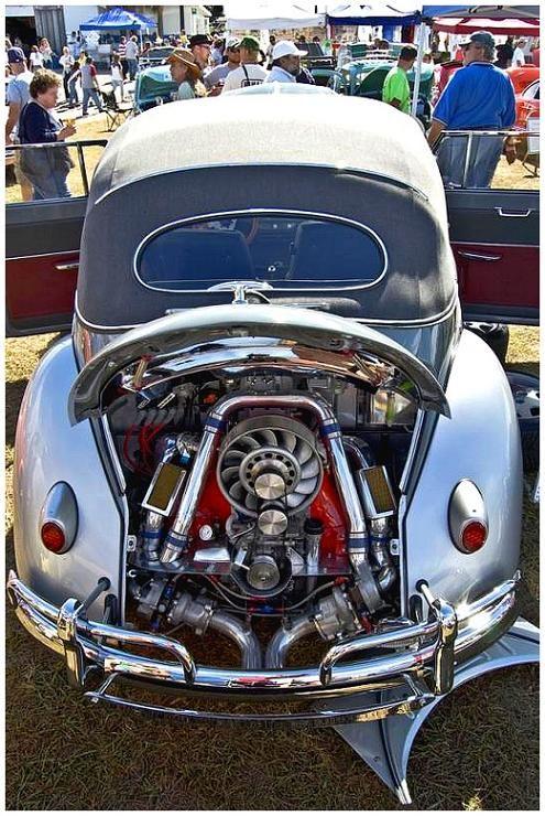 Twin turbo bug engine under the hood! WOWWW :) hehe