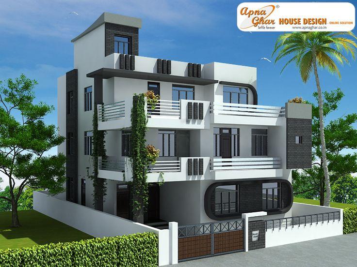 5 Floor Building Elevation : Bedroom modern triplex floor house design area