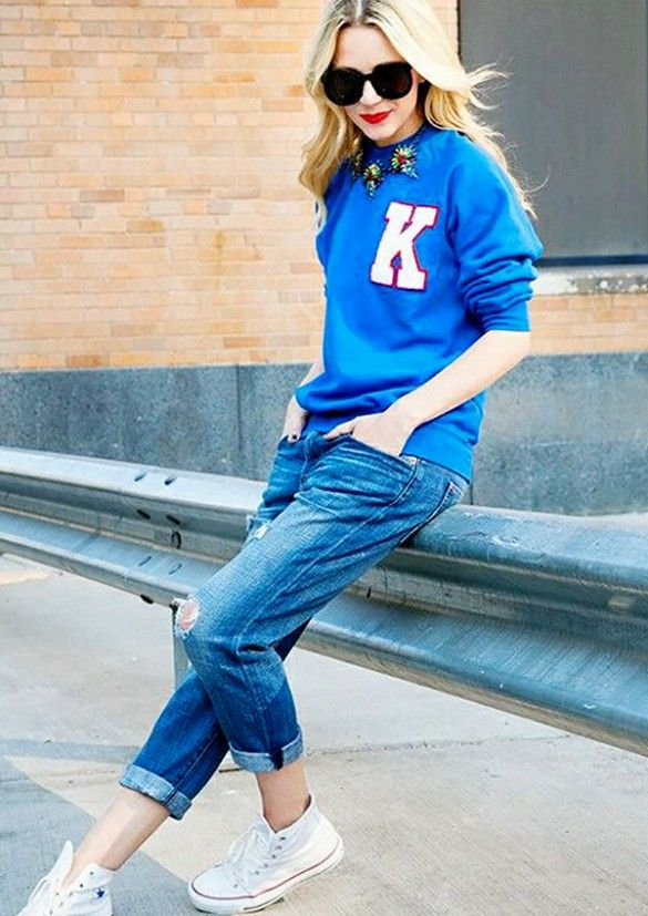 Take advantage of that baggy boyfriend fit, and embrace your inner tomboy. Throw on some sneaks and a letterman sweater to complete the look // #streetstyle