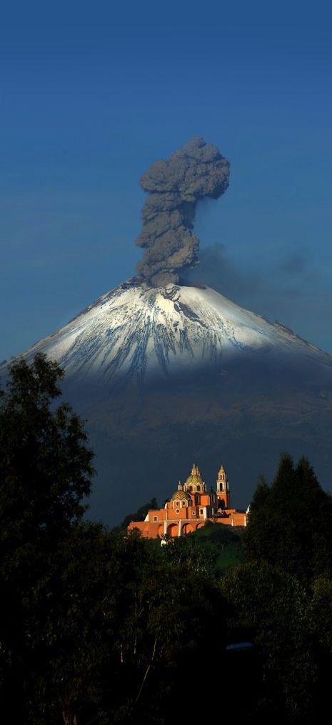 Cholula church and Popocatepetl volcano, in beautiful Puebla, Mexico