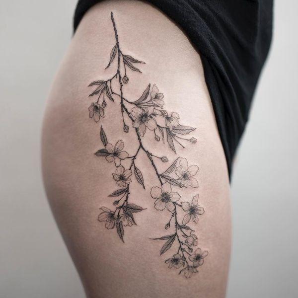 Clean Linework Cherry Blossom Detail For Forearm Vase Tattoo Hip Tattoo Cherry Tree Tattoos Blossom Tree Tattoo