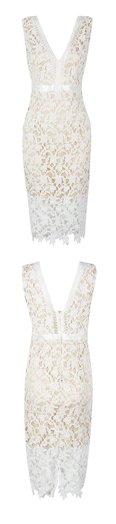 """white crochet lace deep V dress -sexy dress outfit for proms and parties - other colors: black ,red   Use this EXCLUSIVE code """"pin10off""""  over order value $45 and above."""