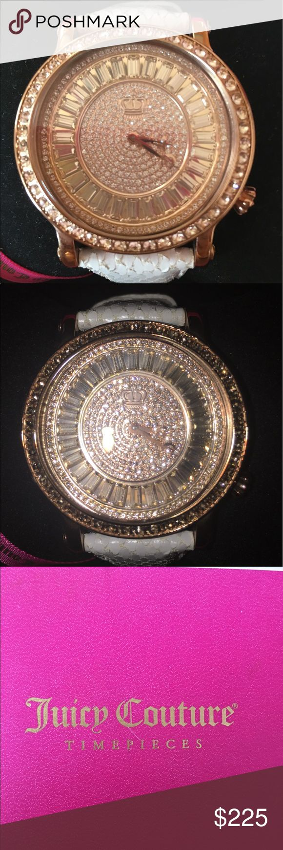 Juicy Couture Watch This is another stunning juicy Couture Pave watch that's decked out in Swarovski crystals and has a white snake band! It's only been worn once to a restaurant for an hour, in absolute pristine condition! Brand new in box! Absolutely stunning watch very Rare and hard to find Juicy Couture Accessories Watches