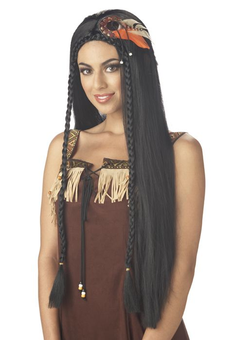 Sexy Indian Princess Costume Wig - Black - Pure Costumes