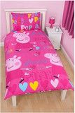 Peppa Pig 'Pretty in Pink' Reversible Single Quilt Cover & Pillowcase Set - 48% Cotton | Kids Character Clothing, Bedding and Accessories | Cooldudes Kids Australia