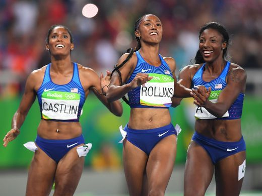 Kristi Castlin, Brianna Rollins, and Nia Ali (USA)