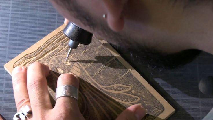 La gravure sur bois avec Dremel 4000 par Kekli / Xylographie