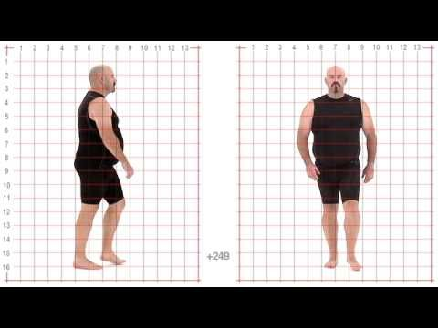Animation Reference - Larger Male Standard Walk - Grid Overlay