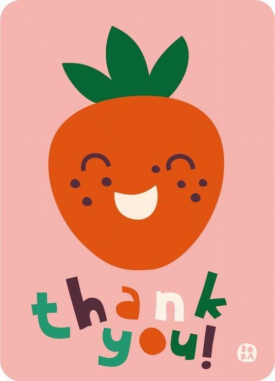 Bora Thank You wenskaart Aardbei #Card #Strawberry from http://www.kidsdinge.com    https://www.facebook.com/pages/kidsdingecom-Origineel-speelgoed-hebbedingen-voor-hippe-kids/160122710686387?sk=wall     http://instagram.com/kidsdinge