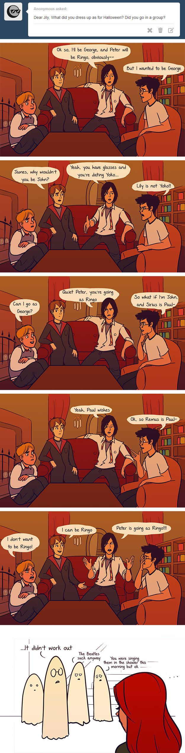 "Or Halloween. | These Hilarious ""Harry Potter"" Comics Ask James And Lily Potter Questions"