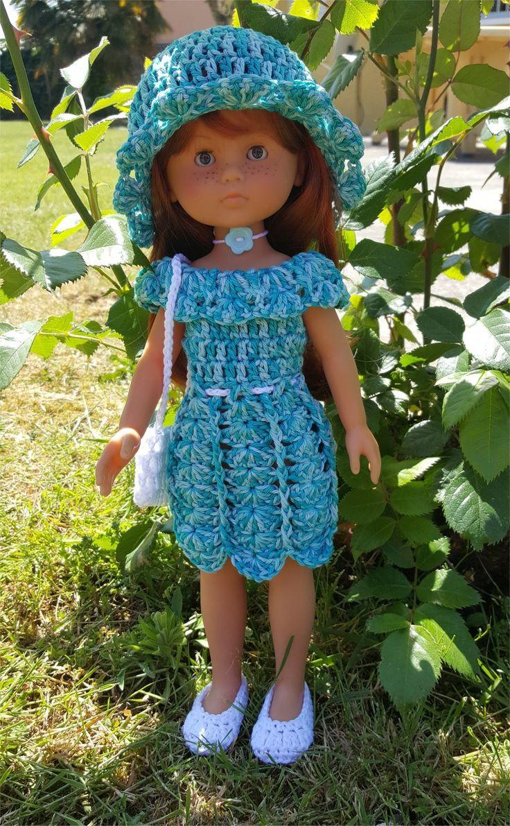 128- FICHE PATRON CROCHET Ensemble Soleillade pour poupée Chérie de Corolle ou Paola Reina : Jeux, jouets par atelier-crochet