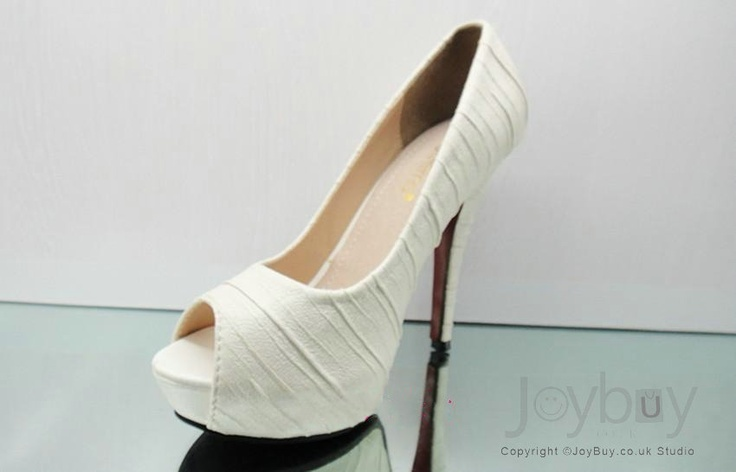 Peep Toe Casting Leather Ruched White High Heels for Wedding