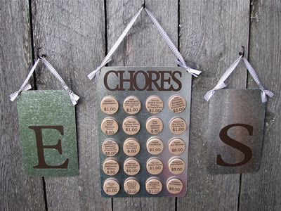 Magnetic chore board for your kids. The description of the chore and the amount they can make if they do it.