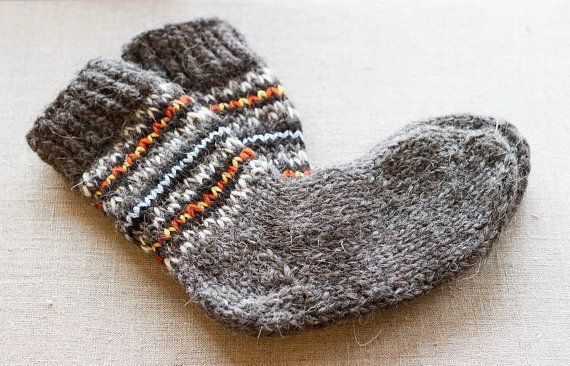 Mens socks are knitted of 100% wool. Present these knitted woolen socks to your boyfriend. They will warm him up during cold weather and become a