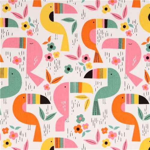 white Toucan Zoo bird animal fabric by Alexander Henry
