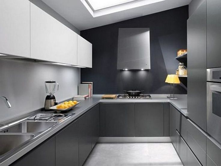 Kitchen Black Modern Stained Wooden Cabinet With Square Sink Also Blender And Fruit Besides Stove  Microwave  Table Lamp  Books   Modern Kitchen Design