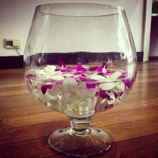 Orchid Vase.. Purple White Singapore Orchids Hurricane Brandy Vase.. Table Centre.. Wedding