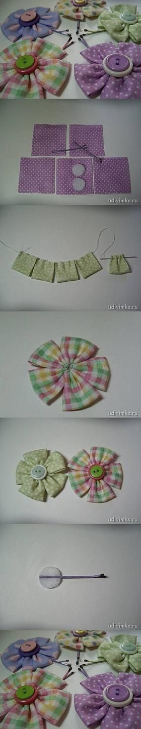 diy, fabric flower, hairpin, tutorial